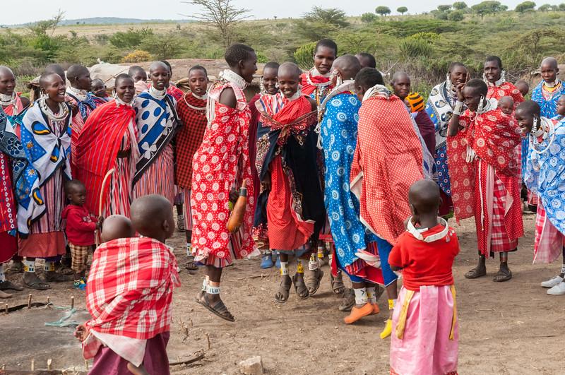 Women dance at a Maasai boma near Enashiva, Tanzania.