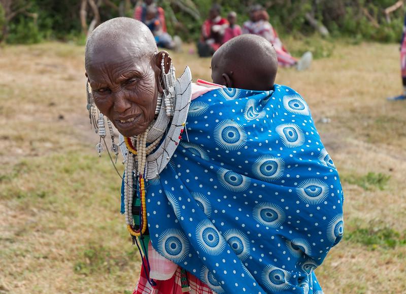 Grandmother and child at a Maasai boma near Enashiva, Tanzania.