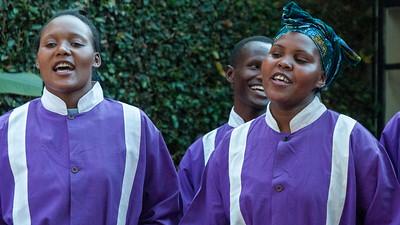 A local church choir performs at Gibbs Farm hotel, Tanzania.
