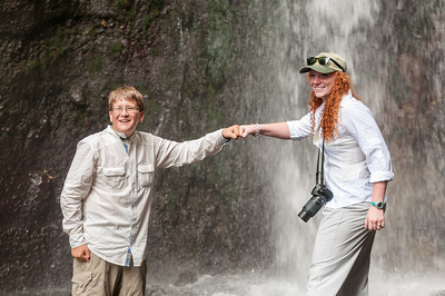 Andy and Isabel at the waterfall in Arusha National Park.