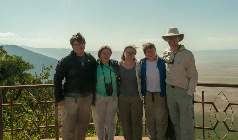 Family photo at the overlook, Ngorogoro crater.