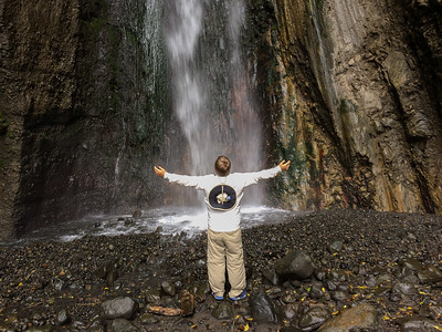 Andy at the waterfall in Arusha National Park.