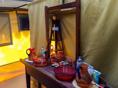 Interior washroom in our tent at nyumba, Tarangire N.P., Tanzania.