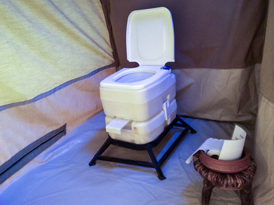 Interior bathroom in our tent at nyumba, Tarangire N.P., Tanzania.