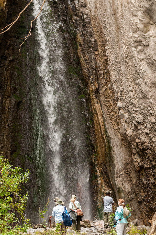 We visit the waterfall at Arusha National Park.