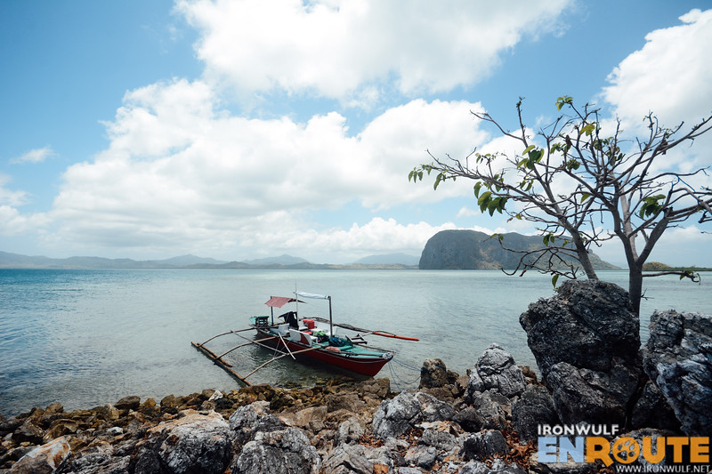Our boat docked at Malapari Islet with Imorigue Island at the background