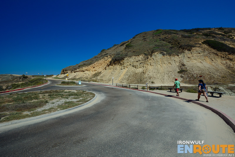Hiking up Torrey PInes Road from the beach