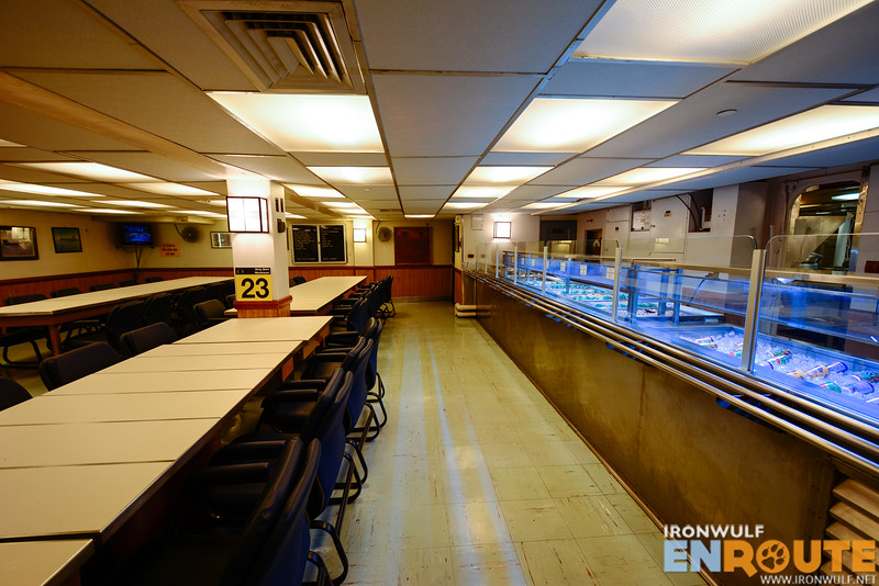 A cafeteria in the ship