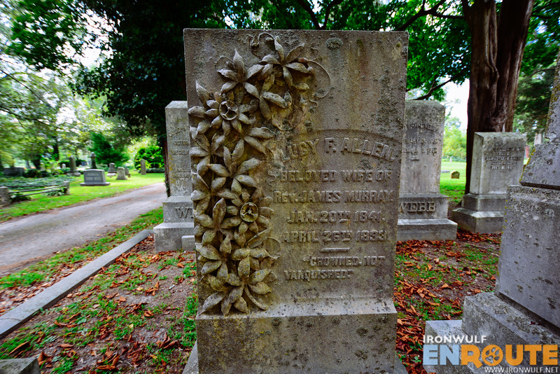 Lucy Allen tombstone adorned with passion flowers