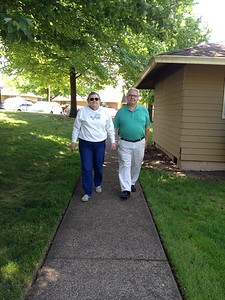 Momma and Pop (Mike's parents) walking around our apartment complex.