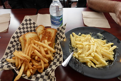 This is what we had for lunch....grilled cheese with fries and mac n cheese.