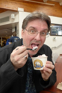 Mike enjoying the ice cream. We had White Chocolate Raspberry Yum! It was delicious!