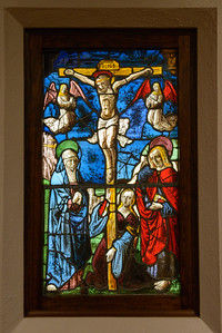 """""""Scene from the Passion of the Christ: The Crucifixion,"""" France, c. 1460-80, Stained and Painted Glass"""