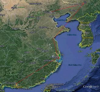 Hong Kong > Guangzhou>Shanghai (w/Ningbo)>Lianyungang>Changchun>Beijing