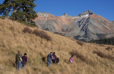 Ginger (the dog) leading a short hike at Lizard Head Pass.