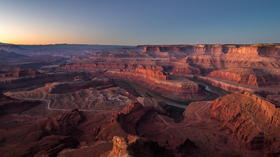 Sunrise over the Colorado river gooseneck at Dead Horse Point State Park.