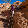 Climbing a small ladder along the Corona Arch Trail.