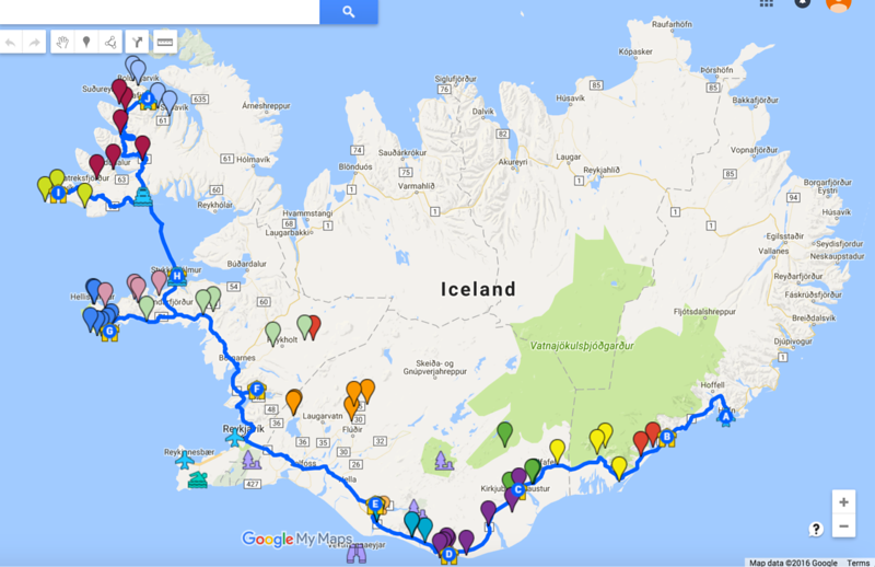Our itinerary - each color represents a different day