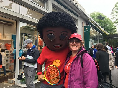 "Mary Ellen and ""Arthur Ashe"" at Roland Garros.  Our first day at the French Open."