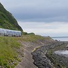 3021 departs Whitehead and approaches White Harbour, 1015 Whitehead / Great Victoria St. Sat 25.06.16