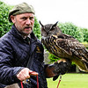 At Donrobin, we saw a slick, informative and humorous falconry demonstration by Andy Hughes, the resident falconer at Donrobin.  Here he is shown with an Eagle Owl that is native to Northern Europe.