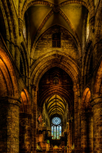 The nave of St Magnus Cathedral in Kirkwall, Scotland.<br /> <br /> St Magnus Cathedral known as the 'Light in the North' was founded in 1137 by the Viking, Earl Rognvald, in honour of his uncle St Magnus.<br /> <br /> This HDR image was created by merging together 5 differing exposures of the scene.