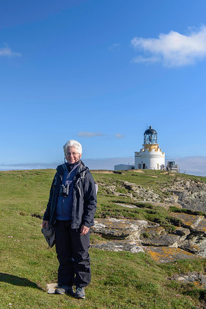The lighthouse at Birsay was built in 1925.  Like the lighthouse at Noup Head also shown in this gallery, it was built by David A Stevenson.  You see Lynn here in her wind pants and rain coat.  Where ever we went in the Orkneys, there was lots of wind.