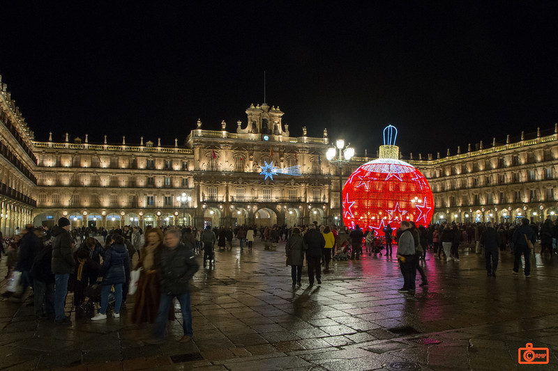 The Plaza Mayor in Salamanca with Christmas decorations. Although it was a cold evening, the streets were very active.