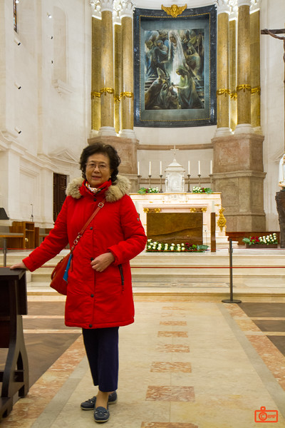 Rosa's mother at the Chapel of the Apparitions of Fátima. This is near the location of the Marian apparitions of 1916-17.
