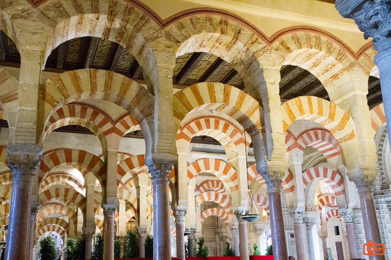 The amazing interior of the Mosque-Cathedral of Cordoba. The inspiration for the decorations (which go as far as you can see) were palm trees.