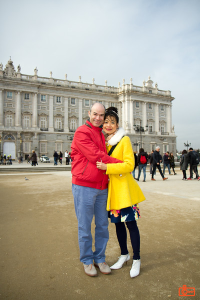 Richard and Rosa in front of the Royal Palace in Madrid.