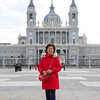 Rosa's mother in front of Almudena Cathedral in Mardrid.