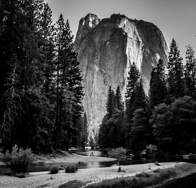 Cathedral Peak Over Merced River (B&W)