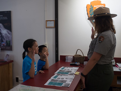 Receiving junior ranger badge, Cuyahoga Valley National Park
