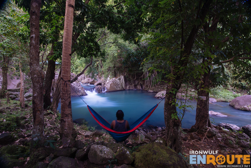 Relaxing on a hammock with a view of the lower cascade
