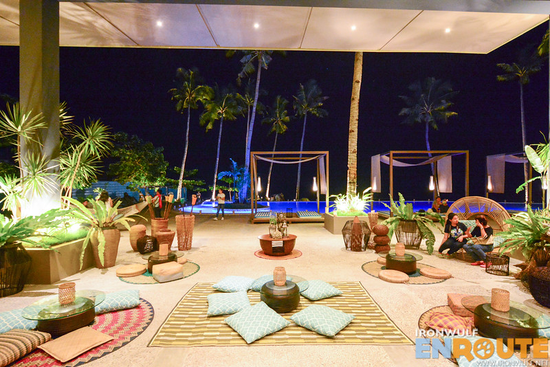 Lounging areas near the pool