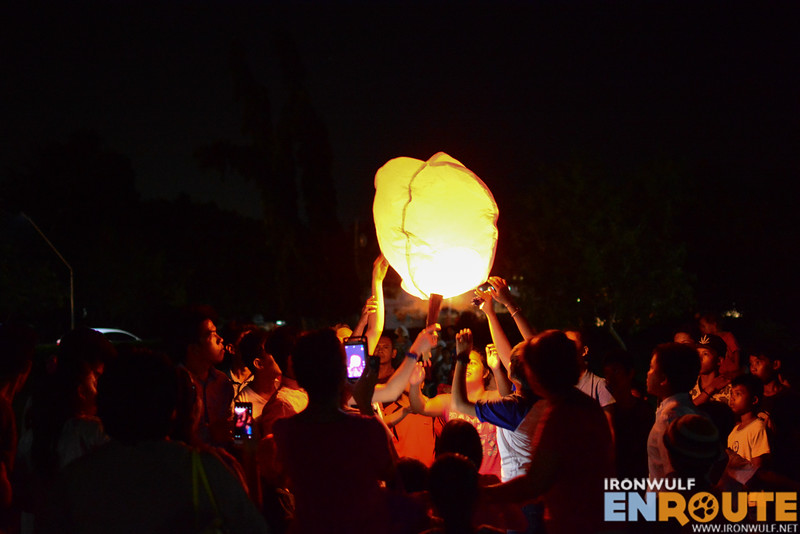 Flying lanterns released at McArthur Park