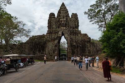 Inside view of the entrance gate for Angkor Thom temple grounds.