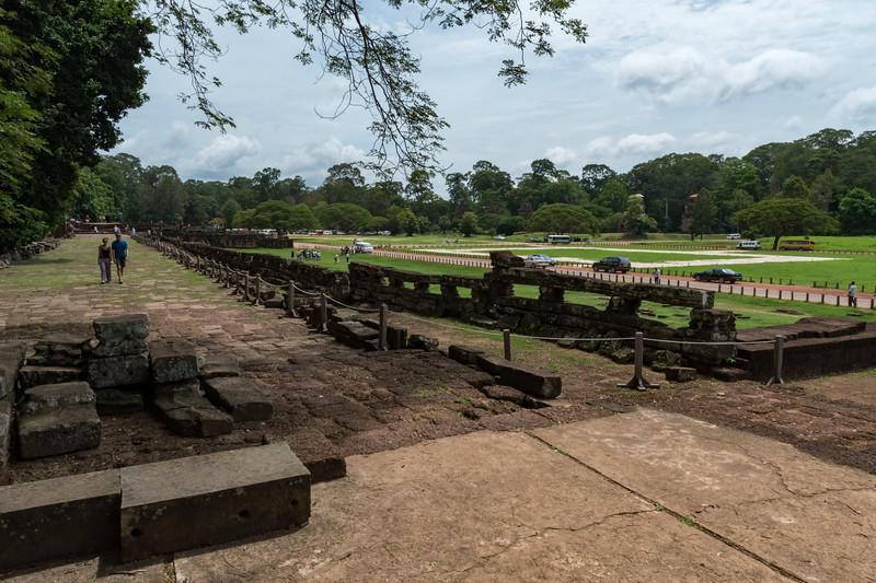 Elephant terrace - for king to view the elephant training ground - Angkor Thom, 13th century Buddhist temple.