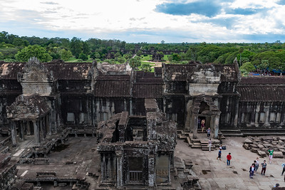 West courtyard and, beyond, the West Gate of Angkor Wat, Cambodia