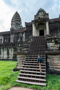 Steep stairs into the inner courtyard of Angkor Wat temple, Cambodia