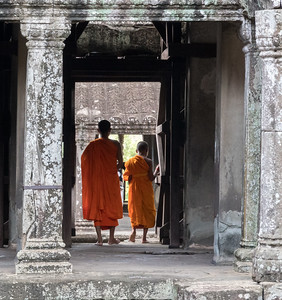 Two young monks visiti Angkor Wat, Cambodia
