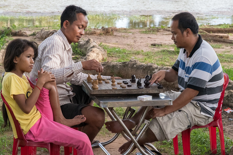 A friendly chess game - Angkor Wat, Cambodia