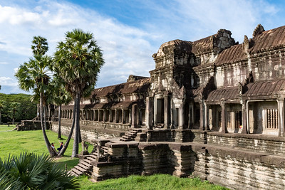 The west side of the central Angkor Wat walls, Cambodia