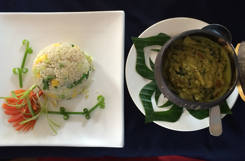 Lunch in Cambodia: vegie rice and local fish with coconut sauce and Khmer spices.