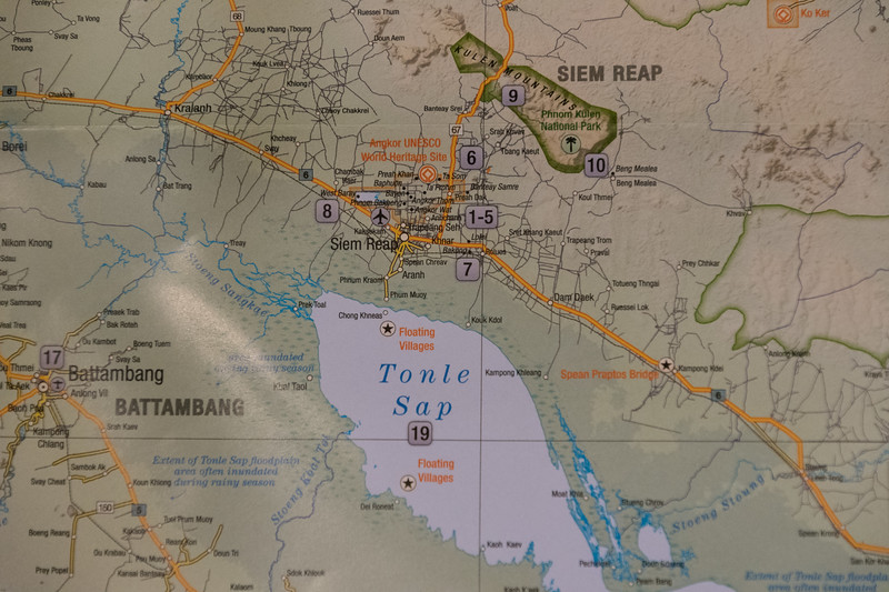 Map of Siem Reap, Cambodia, nearby temples, and lake Tonle Sap.