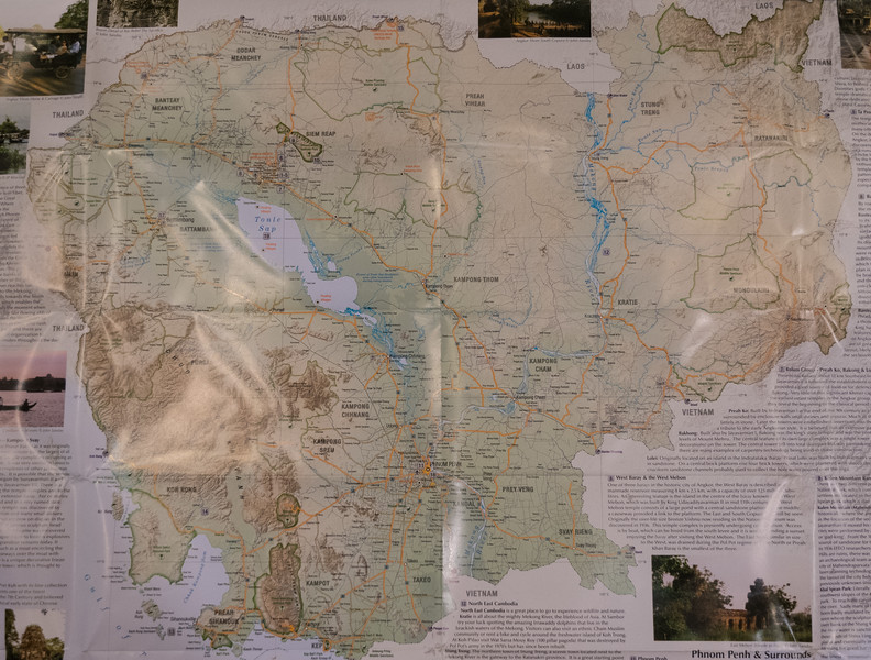 Map of Cambodia; Angkor Wat is at upper left above lake Tonle Sap