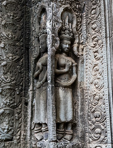 Carvings at Ta Prohm - 11c Buddhist Angkor-area temple