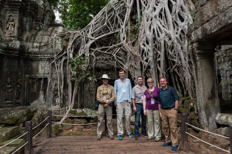 David, Marco, Al, Robin, and Roy at Ta Prohm - 11c Buddhist Angkor-area temple