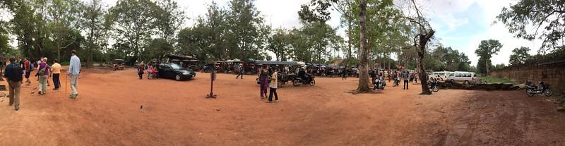 Tuk-tuks and Hawkers outside Ta Prohm - 11c Buddhist Angkor-area temple